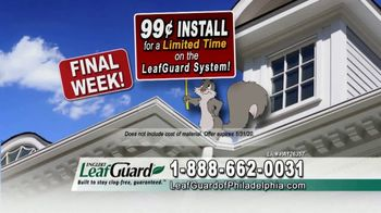 LeafGuard of Philadelphia 99 Cent Install Sale TV Spot, 'What's In Your Gutters' - Thumbnail 5