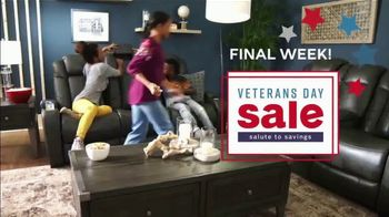 Ashley HomeStore Veterans Day Event TV Spot, 'Ends Monday: Zero Percent Interest'