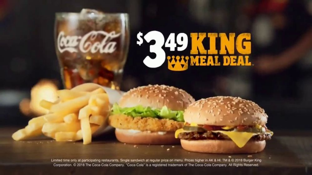 burger king 3 49 king meal deal tv commercial the real deal