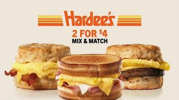 Hardee's 2 for $4 Mix & Match TV Spot, 'Breakfast Favorites'