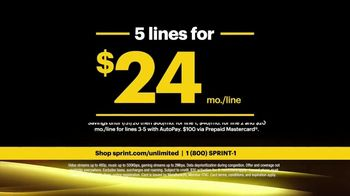 Sprint Unlimited Basic TV Spot, 'Rooftop: Five Lines' - Thumbnail 4