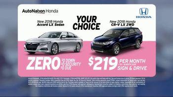 AutoNation Super Zero Event TV Spot, '2018 Honda Accord and CR-V' - Thumbnail 3