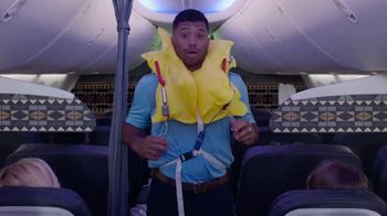 Alaska Airlines TV Spot, \'Flight Attendant Training: Life Vest Demo & Water Walk\' Featuring Russell Wilson