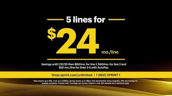 Sprint Unlimited Basic TV Spot, 'Rooftop: Five Lines for $24 a Month' - Thumbnail 10