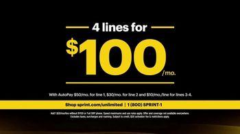 Sprint Unlimited Plus Plan TV Spot, 'Rooftop: 4 Lines' - Thumbnail 3