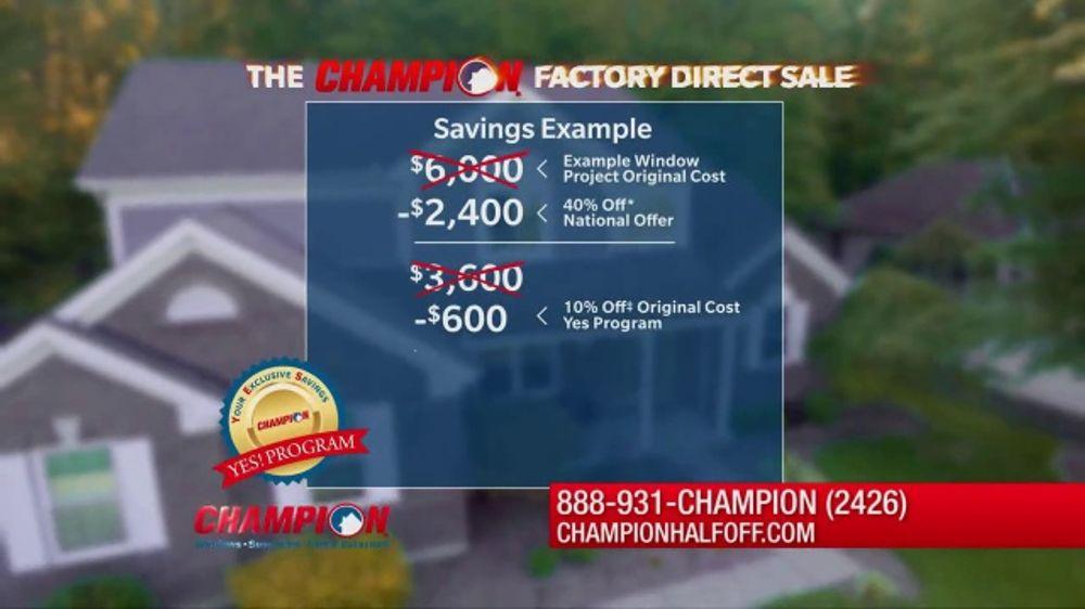 a1878979f6ec93 Champion Windows Factory Direct Sale TV Commercial