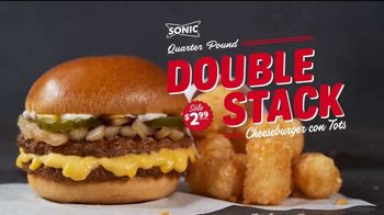 Sonic Drive-In Quarter Pound Double Stack Cheeseburger TV Spot, 'Pura de res' [Spanish]