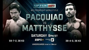 ESPN+ TV Spot, 'Top Rank: Pacquiao vs. Matthysee' - 125 commercial airings