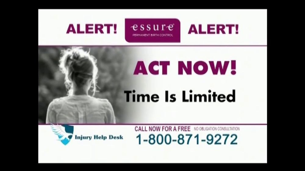 Injury Help Desk TV Commercial, U0027Essure Birth Control Implantu0027   ISpot.tv
