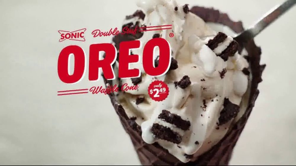 Sonic Drive-In Double Stuff Oreo Waffle Cone TV Commercial ...