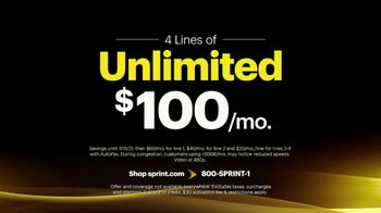 Sprint Best Unlimited Deal TV Spot, 'Samsung Galaxy S10+: Four Lines for $100' - Thumbnail 4