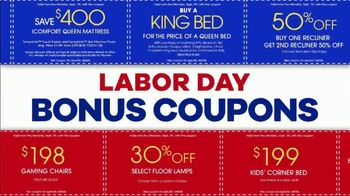 Rooms to Go Labor Day Coupon Sale TV Spot, 'Bonus Coupons' - Thumbnail 3