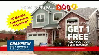 Champion Windows Fall Sale TV Spot, 'Your Safe Place: Buy Two, Get One Free'