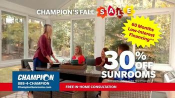 Champion Sunrooms Fall Sale TV Spot, 'More Important Than Ever Before'