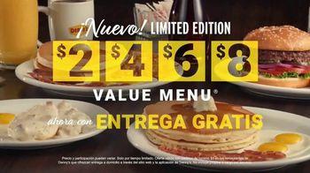 Denny's Limited Edition $2 $4 $6 $8 Value Menu TV Spot, 'Precios más bajos: entrega gratis' [Spanish] - Thumbnail 7