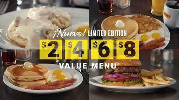 Denny's Limited Edition $2 $4 $6 $8 Value Menu TV Spot, 'Precios más bajos: entrega gratis' [Spanish]
