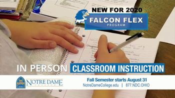 Notre Dame College Falcon Flex Program TV Spot, 'In Class and Online Degrees: Fall Semester' - Thumbnail 8