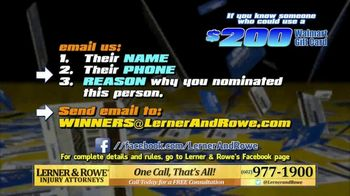 Lerner and Rowe Injury Attorneys TV Spot, 'Walmart Gift Card' - Thumbnail 8