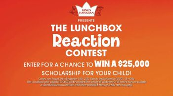 King's Hawaiian Lunchbox Reaction Contest TV Spot, 'Win a $25,000 Scholarship for Your Child' - Thumbnail 1