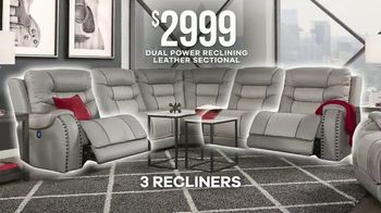 Rooms to Go Labor Day Sale TV Spot, 'Five Piece Dual Power Reclining Leather Sectional' - Thumbnail 5