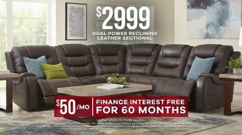 Rooms to Go Labor Day Sale TV Spot, 'Five Piece Dual Power Reclining Leather Sectional' - Thumbnail 6