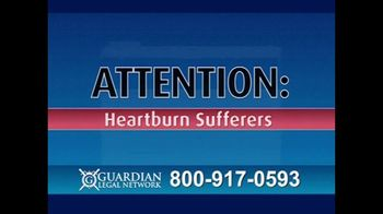 Guardian Legal Network TV Spot, 'Heartburn Sufferers' - Thumbnail 1