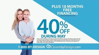Closets by Design TV Spot, 'Totally Organized: 40 Percent Off in May' - Thumbnail 4