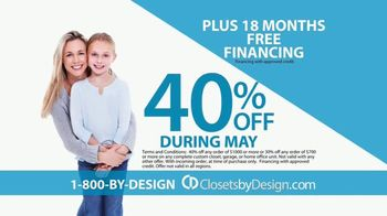 Closets by Design TV Spot, 'Totally Organized: 40 Percent Off in May' - Thumbnail 5
