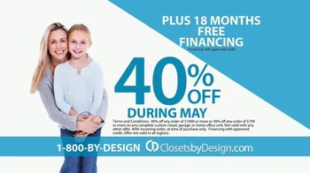 Closets by Design TV Spot, 'Totally Organized: 40 Percent Off in May' - Thumbnail 6