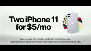 Verizon TV Spot, 'Unlimited Built Right: Apple Music, Two iPhone 11, $250 Switcher' - Thumbnail 8