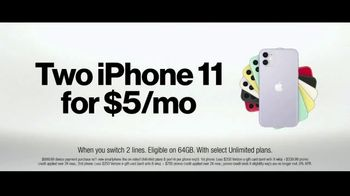 Verizon TV Spot, 'Unlimited Built Right: Apple Music + Two iPhone 11 for $5 a Month' - Thumbnail 9