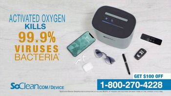 SoClean Device Disinfector TV Spot, 'Activated Oxygen: $100 Off'