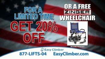 Easy Climber TV Spot, '20 Percent Off or Free Zinger Wheelchair' - Thumbnail 9