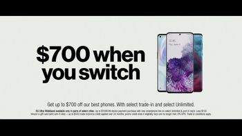 Verizon Unlimited TV Spot, \'Unlimited Built Right: $700 Switcher\'