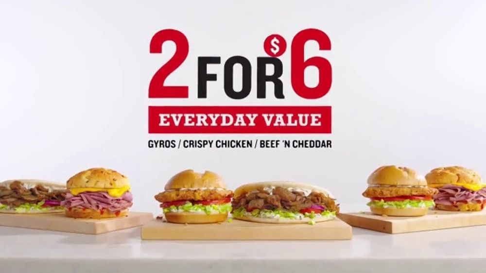 Arby's TV 2 for $6 Everyday Value Menu Commercial, 'Two Happinesses: Gyros' Song by YOGI