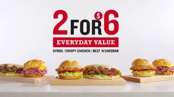 Arby's 2 for $6 Everyday Value Menu TV Spot, 'Two Happinesses: Gyros' Song by YOGI - 2212 commercial airings