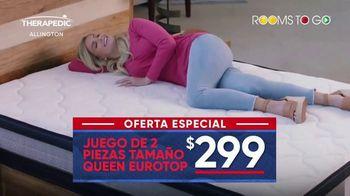 Rooms to Go Mes del Colchón TV Spot, 'Queen Eurotop: $299 dólares' [Spanish] - Thumbnail 2