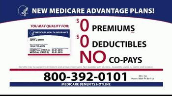 Medicare Benefits Hotline TV Spot, '2020 Medicare Advantage Plans: $0 Co-Pays'