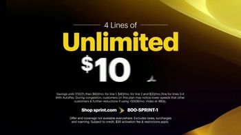 Sprint Unlimited TV Spot, 'Our Best Unlimited Deal: Four Lines of Unlimited for Just $100 a Month' - Thumbnail 2