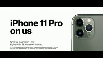 Verizon Unlimited TV Spot, 'Unlimited Built Right: Most Awarded Network + iPhone 11 Pro BOGO' - Thumbnail 8