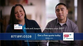 AAA TV Spot, 'Paula and Joaquin: Save Average of $537'