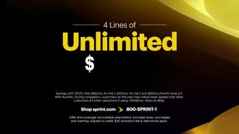 Sprint Best Unlimited Deal TV Spot, 'Four Lines and Four Galaxy Phones' - Thumbnail 3