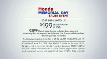 Honda Memorial Day Sales Event TV Spot, 'Visit Your Local Dealer: 2019 HR-V' [T2] - Thumbnail 5