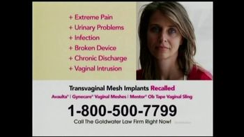 Goldwater Law Firm TV Spot, 'Transvaginal Mesh Implants'