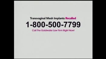 Goldwater Law Firm TV Spot, 'Transvaginal Mesh Implants' - Thumbnail 3