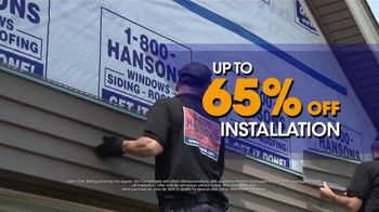 1-800-HANSONS TV Spot, \'Weatherproof Siding: 65 Percent Off Installation\'