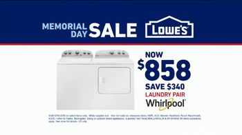 Lowe's Memorial Day Sale TV Spot, 'Whirlpool Laundry Pair' - Thumbnail 9