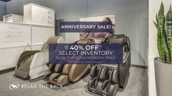 Relax the Back Anniversary Sale TV Spot, 'Up to 40 Percent'