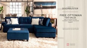 Value City Furniture Labor Day Sale TV Spot, 'Doorbusters: Free Ottoman' - Thumbnail 9