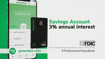 Green Dot Unlimited Cash Back Bank Account TV Spot, 'Extreme Value' - Thumbnail 4